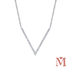 White Gold Chevron Diamond Necklace| 0.12 Carat Total Weight