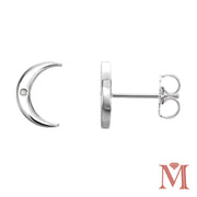 White Gold Crescent Moon Diamond Stud Earrings| 0.01 Carat Total Weight