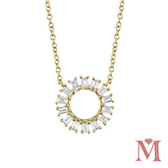 Yellow Gold Circle Diamond Necklace|0.26 Carat Total Weight