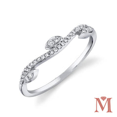 White Gold Leaf Motif Diamond Band|0.13 Carat Total Weight
