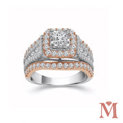 White & Rose Gold Princess Halo Diamond Ring|2.0 Carat Total Weight