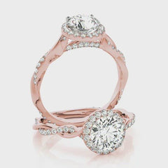 Round Diamond Halo Pavé Twist Engagement Ring | 0.33 Carat Total Weight