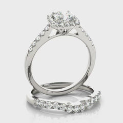 Cushion Diamond Halo Engagement Ring | 0.58 Carat Total Weight