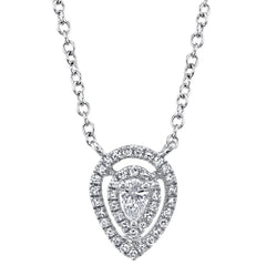 White Gold Pear Diamond Halo Necklace | 0.20 Carat Total Weight