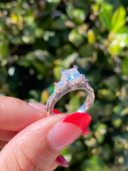 White Gold Three Stone Princess Cut Engagement Ring | 2.00 Carats Total Weight