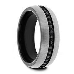 Mens Gunmetal Tungsten Ring With Black Sapphires