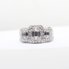 White Gold 3 Stone Diamond Ring|2.00 Carat Total Weight -  MarquiseJewelers