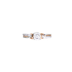 White & Rose Gold Round Petite Ring | 0.13 Carat Total Weight