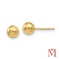 Yellow Gold 5mm Ball Stud Earrings|14 Karat