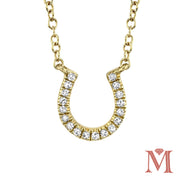 Yellow Gold Horse Shoe Diamond Necklace|0.06 Carat Total Weight