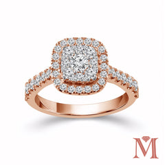 Rose Gold Cushion Frame Diamond Unity Ring | 1.00 Carat Total Weight