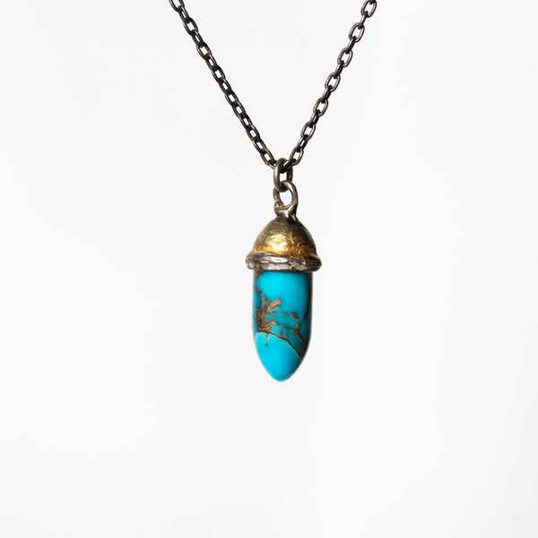 Knight Amulet Copper Blue Turquoise Bullet