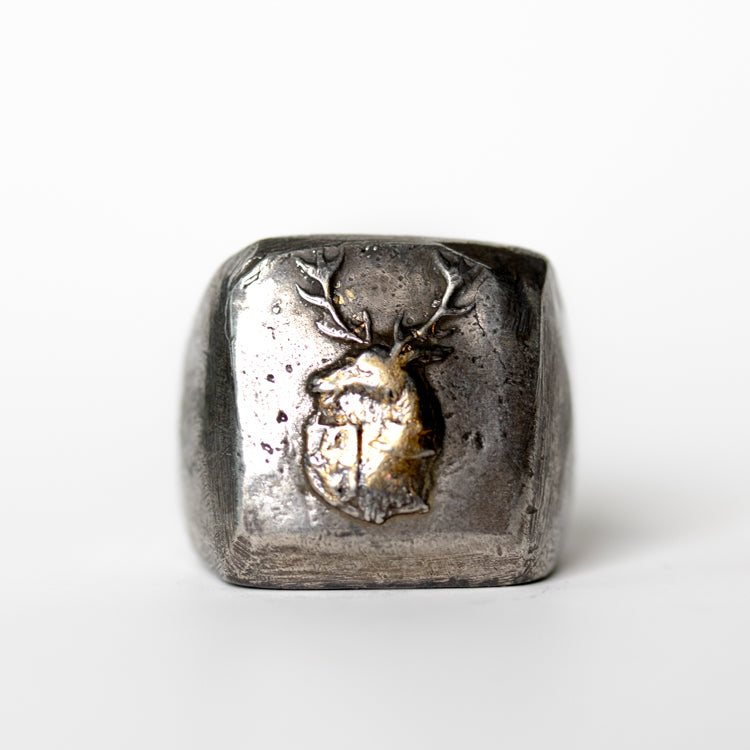 Illuminated Stag and Shield Signet Ring - Machinations