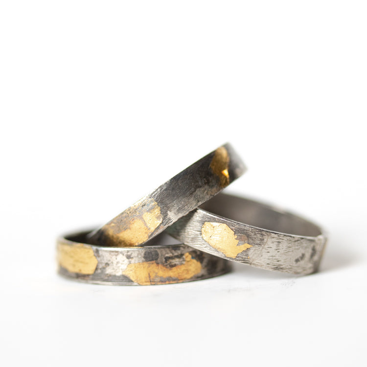 Silver and Gold Band -Wide