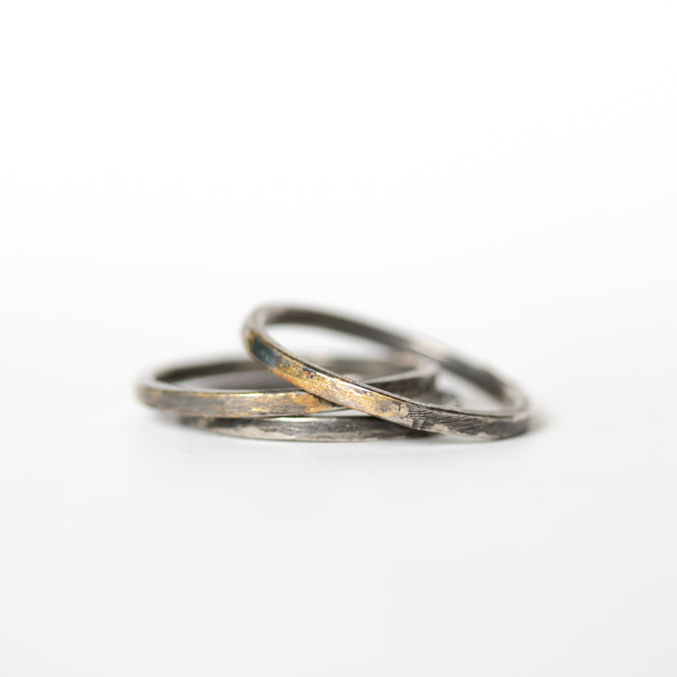 Silver and Gold Band - Thin