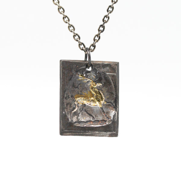 Running Stag Tag Necklace