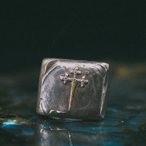 Sword of the Righteous With Diamonds Signet Ring