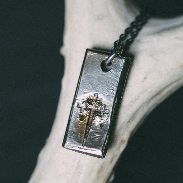 Sword of the Righteous Tag Necklace with Diamonds