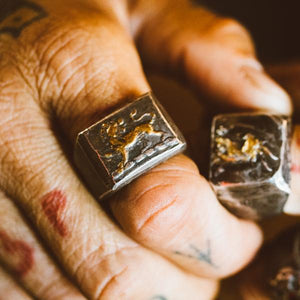 Illuminated Lion Heart Signet Ring - Machinations