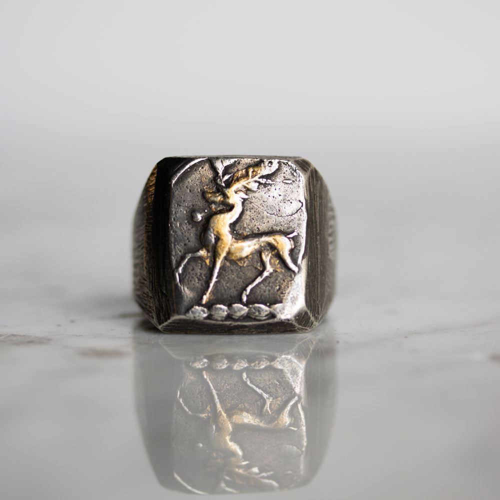 Illuminated Stag Signet Ring