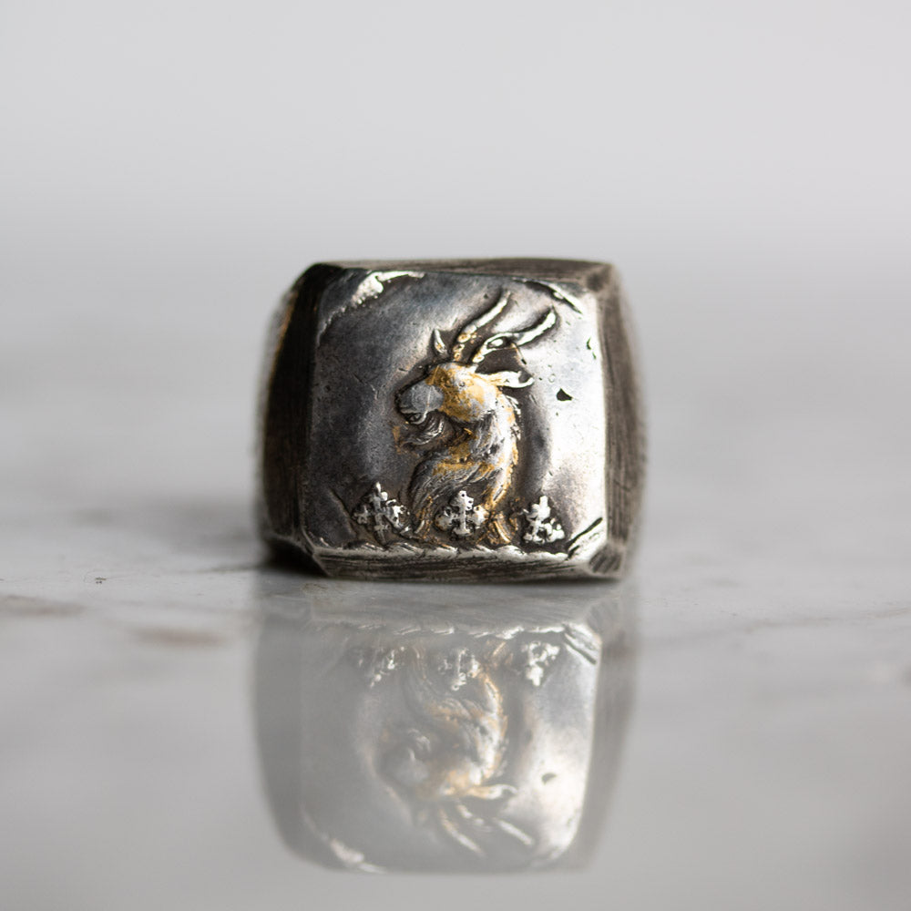 Illuminated Ram Signet Ring