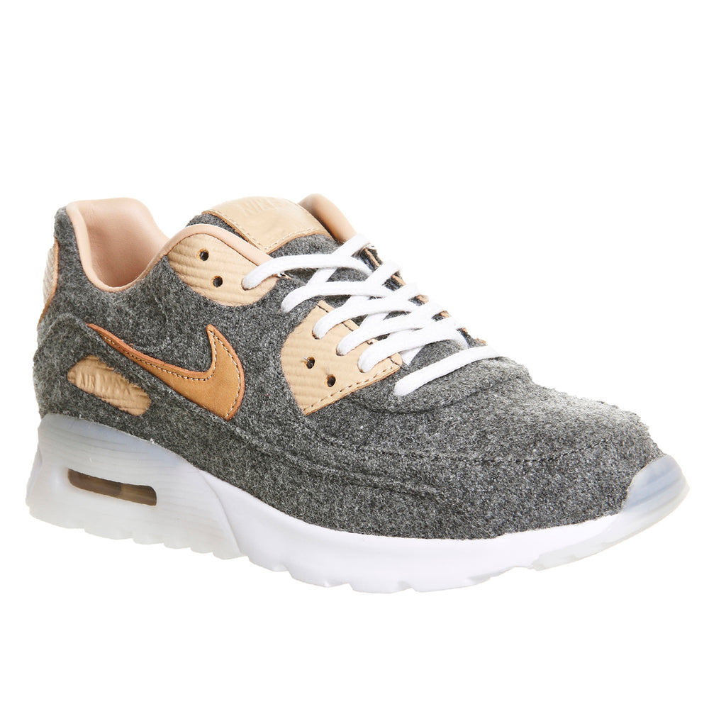 Original NIKE Air Max 90 Ultra PRM Women s Sneakers Cool Grey-vachetta  Tan-white 18dd0bc87
