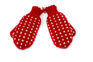 Thrum Mittens (Red)