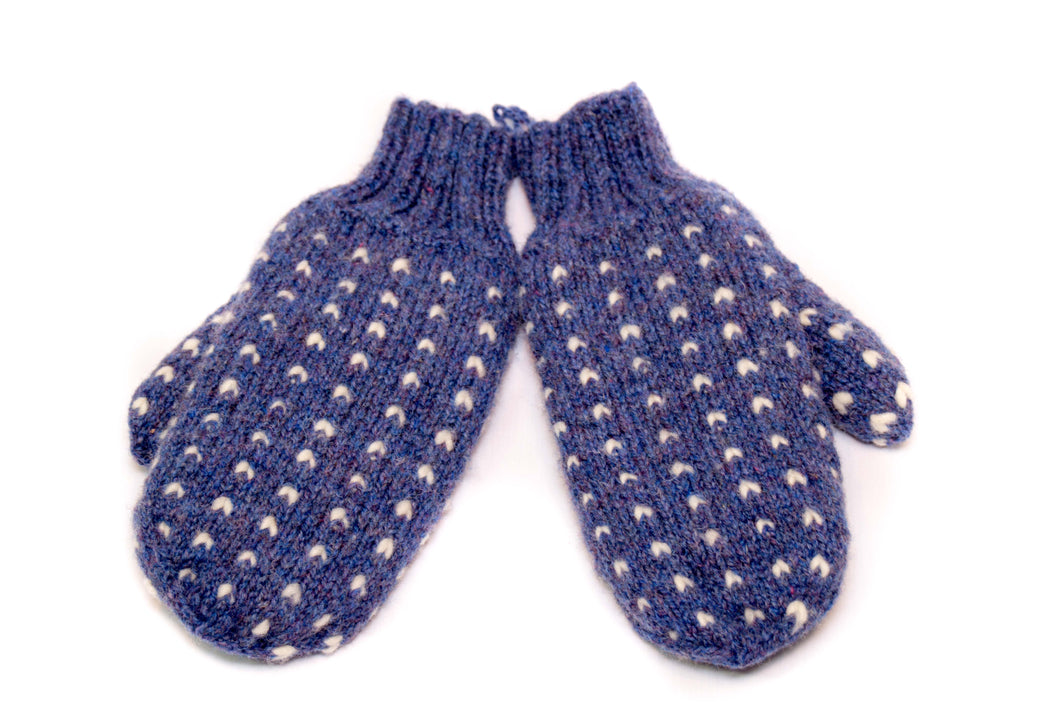 Thrum Mittens (Blue)