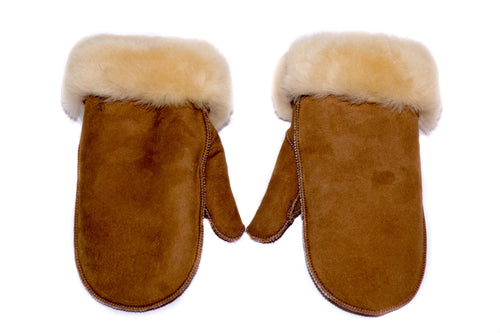 Mens Brown Suede Sheepskin Mittens