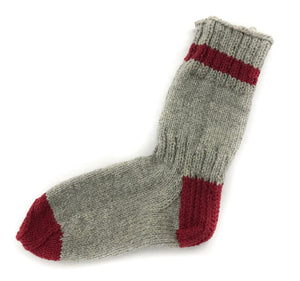 Grey with Red - Hand Knit Wool Socks