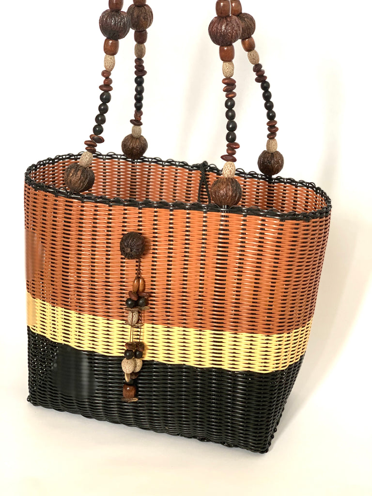 2753 - Light Brown, Beige and Black Woven Purse with Seeded Handles