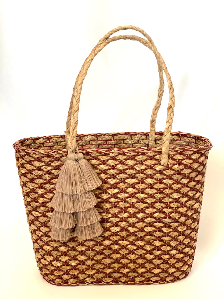 2828 - Light Brown Handwoven Wicker Purse