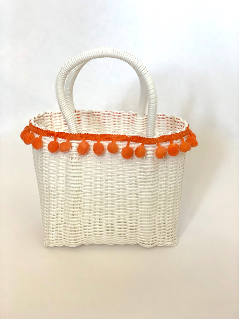 2849 - Small White Woven Purse with Orange Highlights