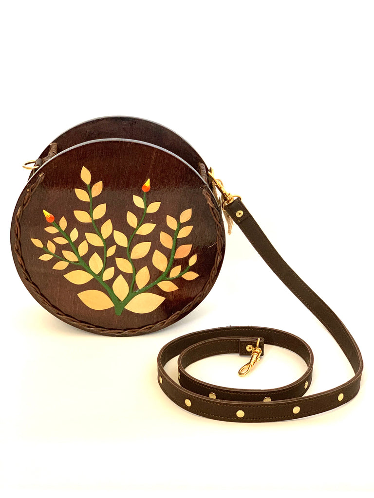 2864 - Small Brown Wooden Purse with Leather Strap