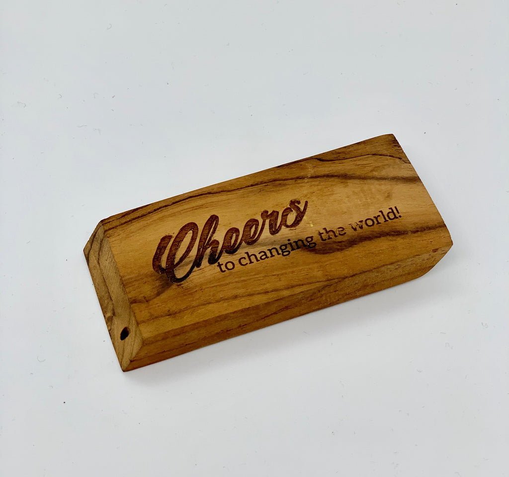 Flat Wooden Bottle Opener - Cheers