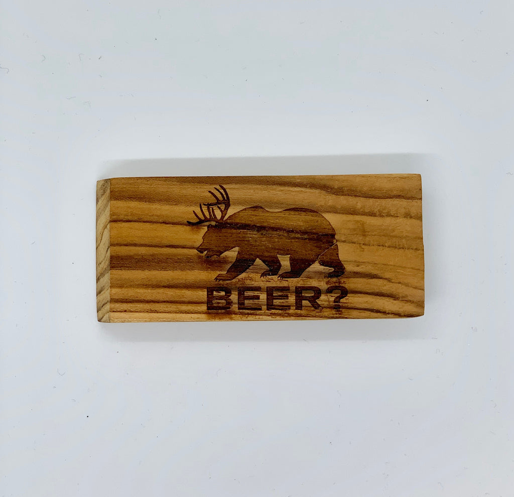 Flat Wooden Bottle Opener - Beer?