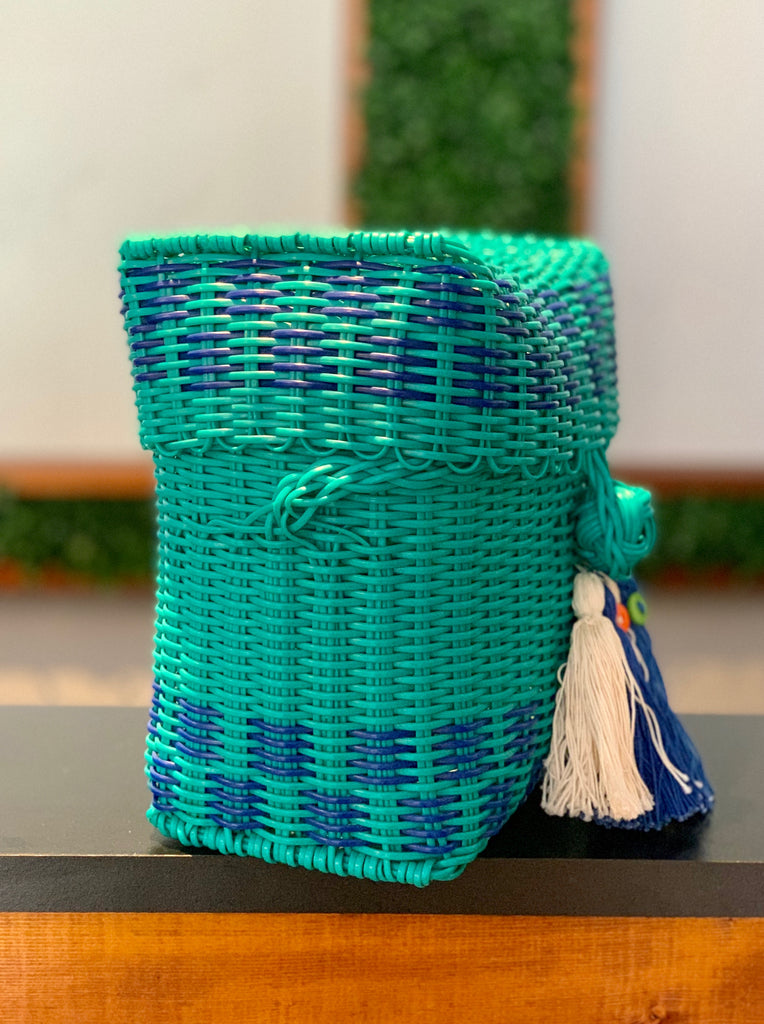 2903 - Small Woven Turquoise Box-Shaped Purse