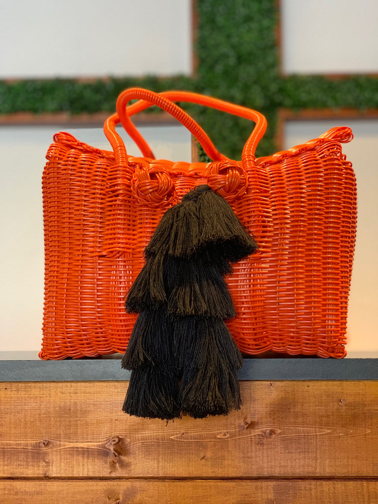 2503 - Woven Orange Picnic Basket