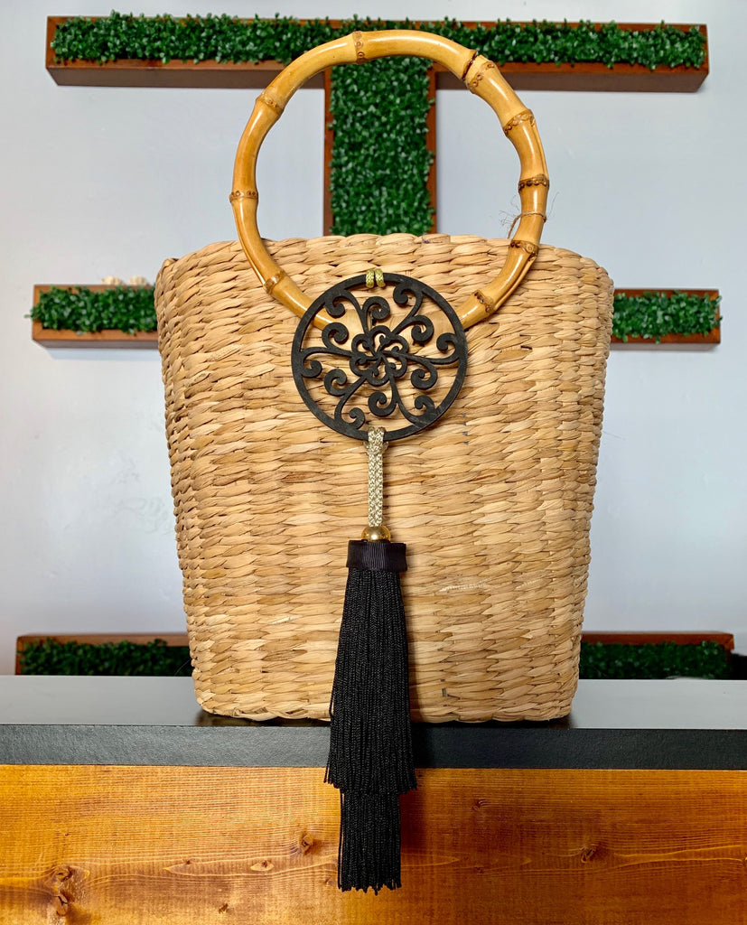 2910 - Basket Shaped Wicker Purse with Bamboo Handles