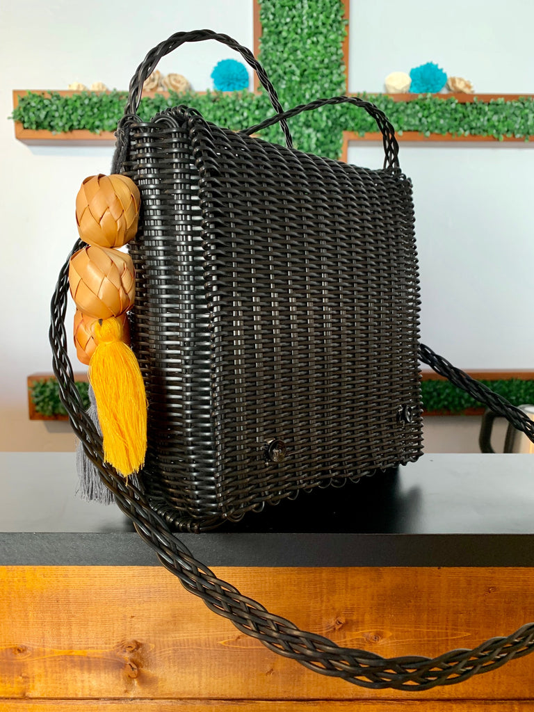 2403 - Black Square Purse with Large Beaded Tassel