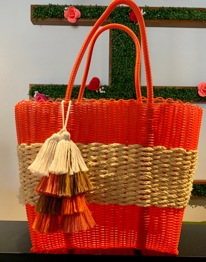 2410 - Orange Woven Purse with Wicker Band
