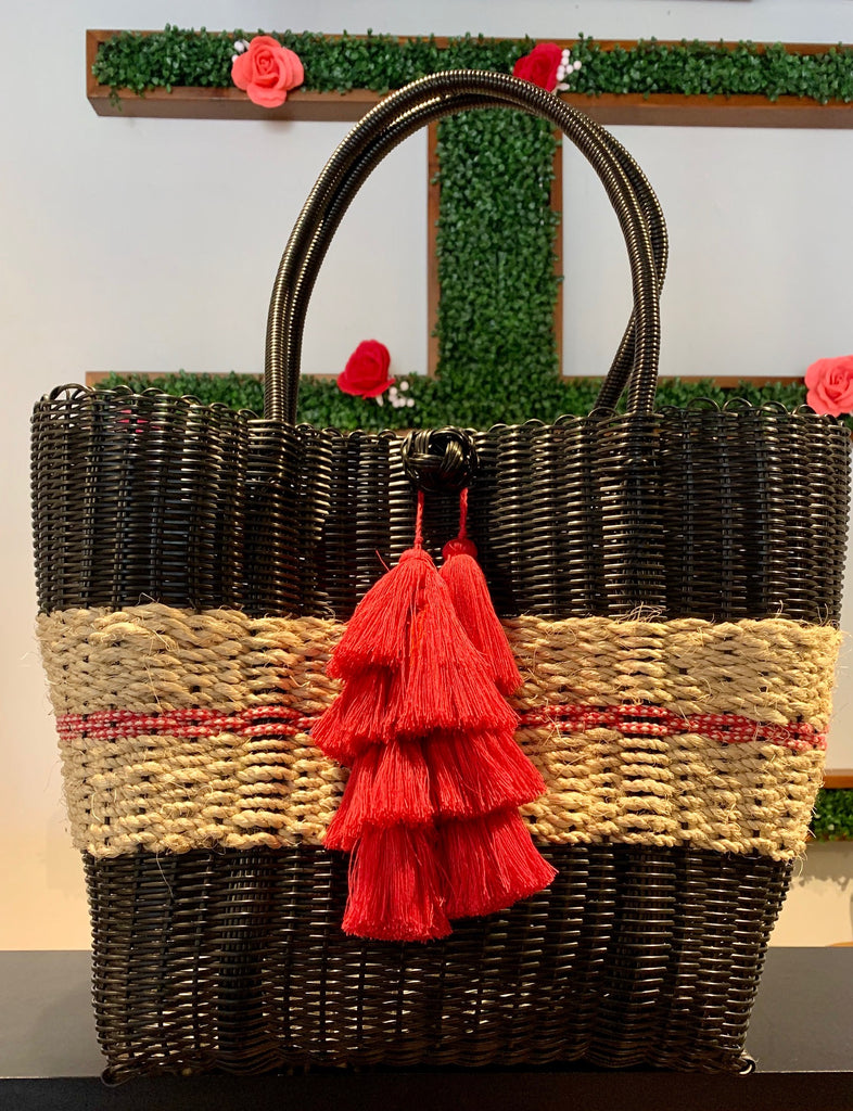 2408 - Black Woven Purse with Wicker