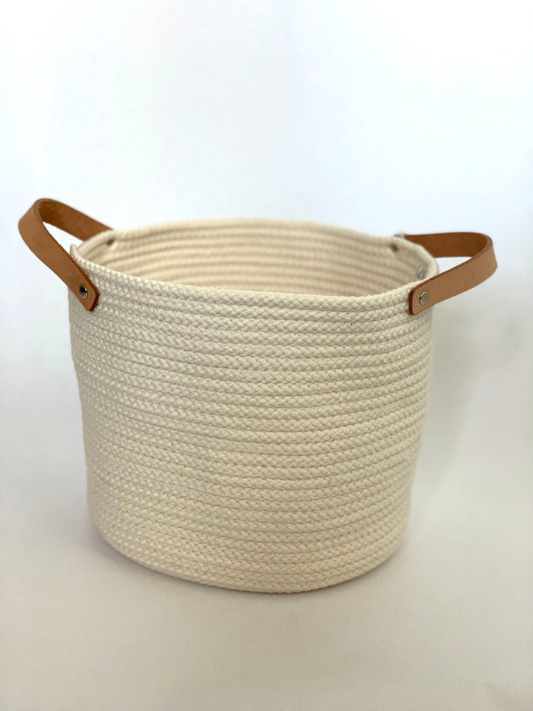Medium Round Cotton Basket with Leather Handles