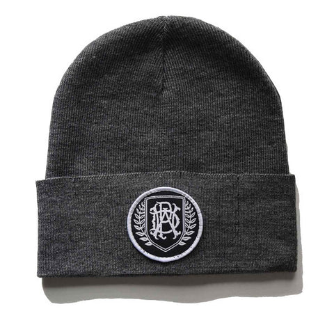 Grey Crest Patch Beanie