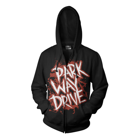 Black Red Logo Zip Hood