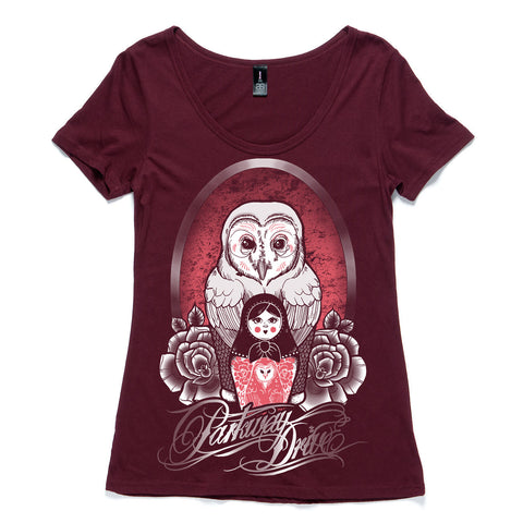 Owl Doll Maroon Womens T-shirt