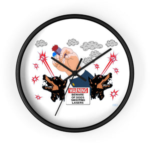 Warning: Dogs shooting lasers Wall clock