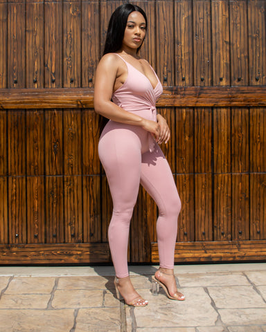 BabyDoll Fitted Jumpsuit (Pink)
