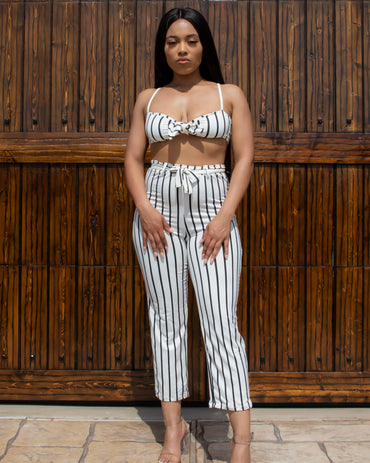 Ready to Mingle Striped Two Piece Set (White & Black)