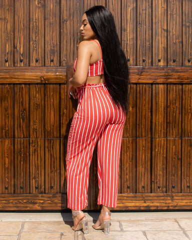 Ready to Mingle Striped Two Piece Set (Red & White)